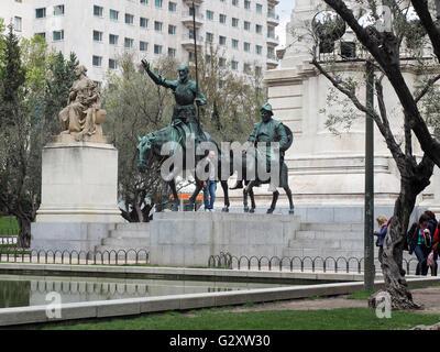 Statues of Don Quixote and Sancho Panza, Monument to Miguel de Cervantes, Plaza de España, Madrid, Spain - Stock Photo