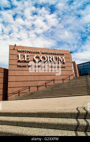 MONTPELLIER, FRANCE - JULY 13, 2015: View at Le Corum congress hall in Montpellier, France. It was designed by Claude - Stock Photo