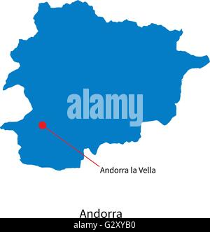 Detailed vector map of Andorra and capital city Andorra la Vella - Stock Photo