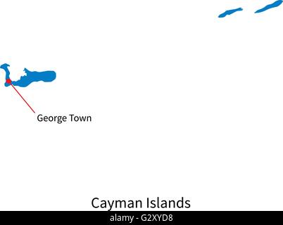 Cayman Islands Political Map With Capital George Town British - Cayman islands cities map