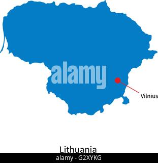 Detailed vector map of Lithuania and capital city Vilnius - Stock Photo