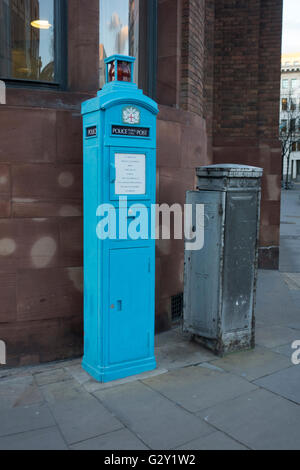 Old police public call box, Queen Victoria Street, London, UK - Stock Photo