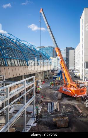 Construction work on the former Eurostar International Terminal at Waterloo Station to convert to standard platform, - Stock Photo