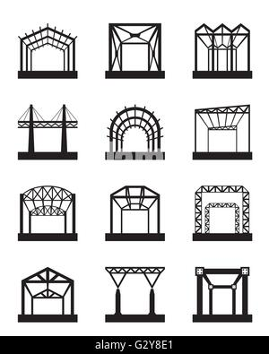 Metal structures icon set - vector illustration - Stock Photo