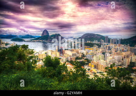 Rio De Janeiro, Brazil in the evening sun light - Stock Photo