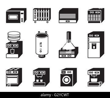 Household appliances icon set - vector illustration - Stock Photo