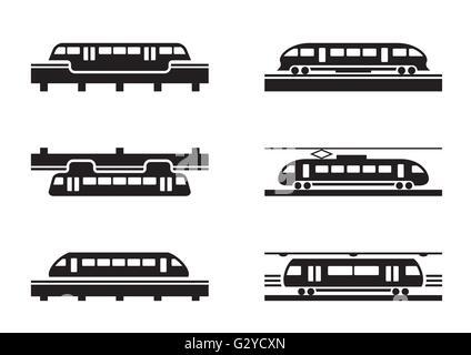 High-speed rail trains - vector illustration - Stock Photo