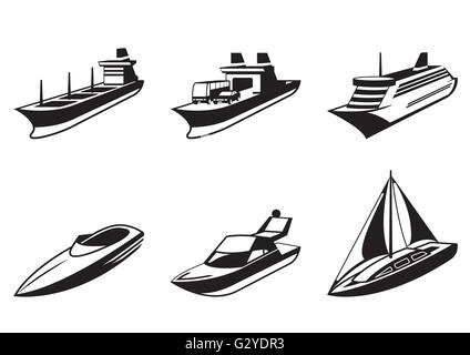Sea ships and boats in perspective - vector illustration - Stock Photo