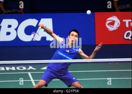 Jakarta, DKI Jakarta, Indonesia. 5th June, 2016. JAKARTA, INDONESIA - JUNE 05 : Lee Chong Wei of Malaysia hits a - Stock Photo