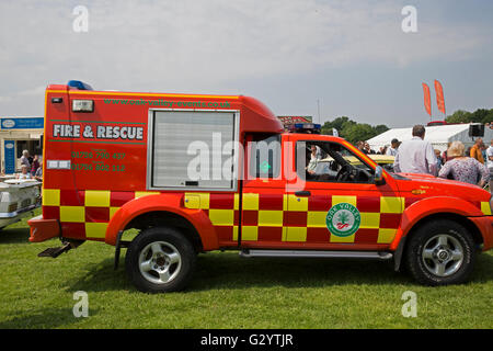 Fire and Rescue truck on display at the Classic Car show 2016 in Norman Park Bromley - Stock Photo
