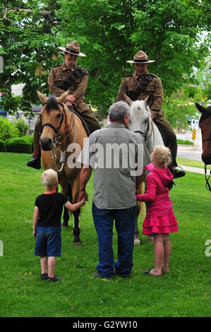 London Ontario Canada, Sunday 05 June 2016.  Past and present members of the Canadian First Hussars march through - Stock Photo