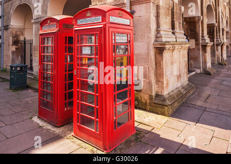 Defibrillator in an old red telephone box in Monmouth, Monmouthshire, England, UK - Stock Photo