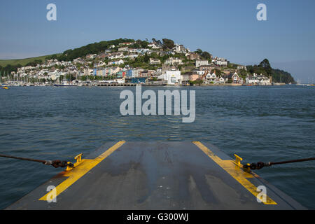 Kingswear, Devon, viewed from the car ferry, crossing the River Dart from Dartmouth - Stock Photo