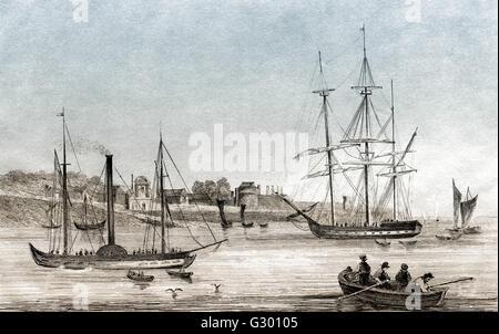 Tilbury Fort, Tilbury, Essex, England, sailing boats, 19th century - Stock Photo