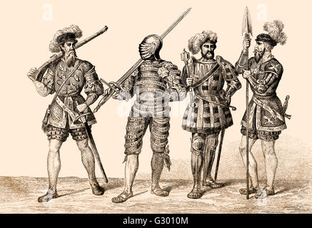 English soldiers costumes, 16th century - Stock Photo