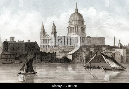 View of St Paul's Cathedral, London, 18th century - Stock Photo