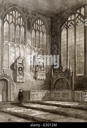 The Shakespeare funerary monument,  Holy Trinity Church, Stratford-upon-Avon, England - Stock Photo