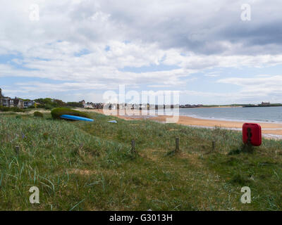 View along long curved sandy beach Elie on Firth of Forth Fife Scotland a small attractive Scottish coastal town - Stock Photo