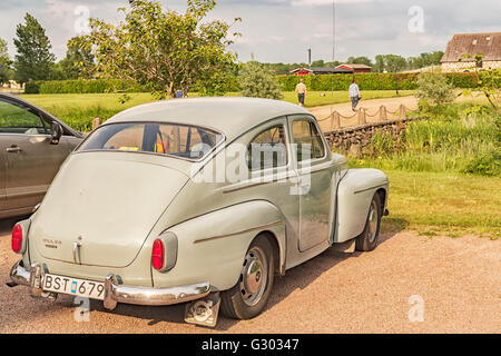 Retro vehicle Volvo PV544 at Skottorps castle in Sweden. - Stock Photo