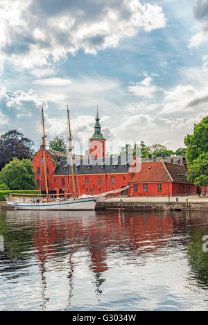 An image of Halmstad castle on the riverbank situated in the halland region of Sweden. - Stock Photo