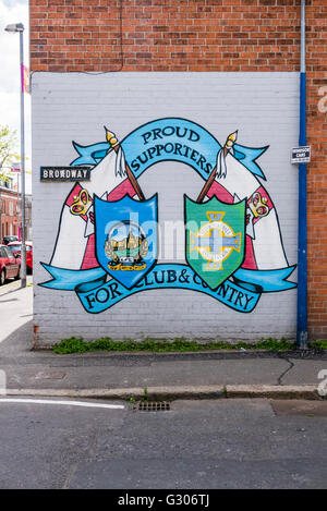 Belfast mural commemorating supporters of the Northern Ireland football team. - Stock Photo