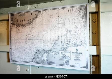 Map of North Jutland, Skagerrak, and Baltic Sea on HMS Caroline, Belfast, the last surviving ship from the Battle - Stock Photo