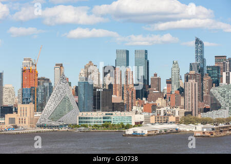 Part of the mid-town skyline, including new development on West 57th street, in New York City. - Stock Photo