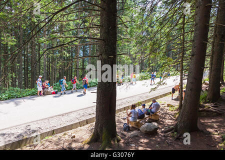 Group of tourists walking on the road to Morskie Oko lake, Czarny Staw and Rysy in High Tatra Mountains near Zakopane, - Stock Photo