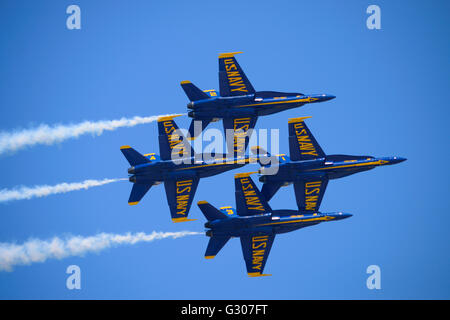 US Navy Blue Angels Fly F-18 Hornet Jet Planes during Jones Beach Air Show. - Stock Photo