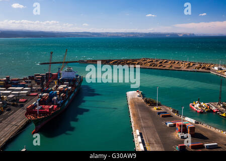 Cargo Ship in Napier Port, Hawkes Bay Region, North Island, New Zealand, Pacific - Stock Photo