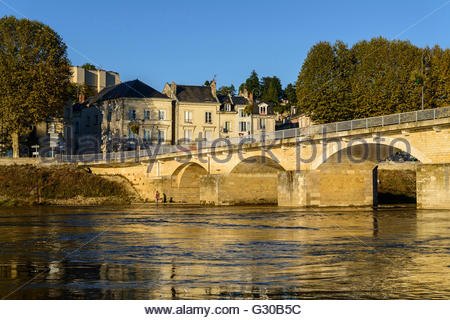 Arch Bridge of Chinon on the Vienne River, Chinon, Indre et Loire, Centre, France, Europe - Stock Photo
