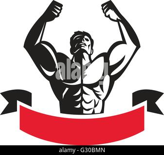 Illustration of a male body builder flexing muscles looking up viewed from front set on isolated white background - Stock Photo