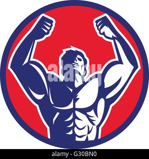 Illustration of a male body builder flexing muscles looking up viewed from front set inside circle on isolated background - Stock Photo