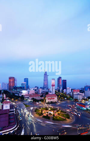 Ben Thanh market area and Bitexco Financial Tower, Ho Chi Minh City (Saigon), Vietnam, Indochina, Southeast Asia, - Stock Photo