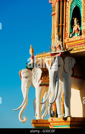 Elephant detail, Wat Tham Sua temple, Kanchanaburi, Thailand, Southeast Asia, Asia - Stock Photo
