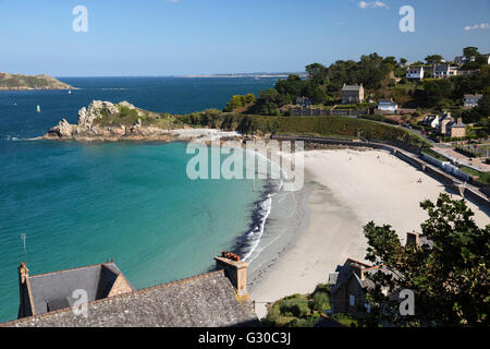 Trestrignel beach and Pointe du Chateau, Perros-Guirec, Cote de Granit Rose, Cotes d'Armor, Brittany, France, Europe - Stock Photo