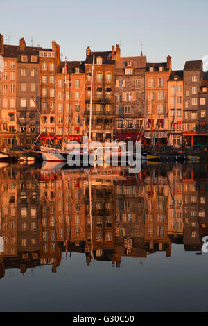 Saint Catherine Quay in the Vieux Bassin at sunrise, Honfleur, Normandy, France, Europe - Stock Photo