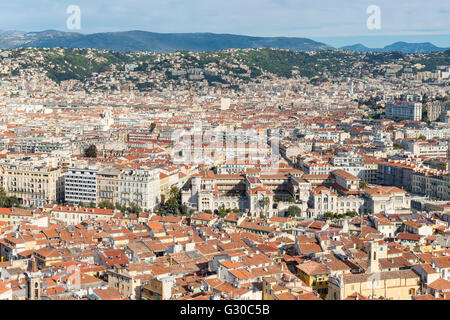 Cityscape skyline view over the city of Nice, Alpes Maritimes, Provence, Cote d'Azur, French Riviera, France, Europe - Stock Photo