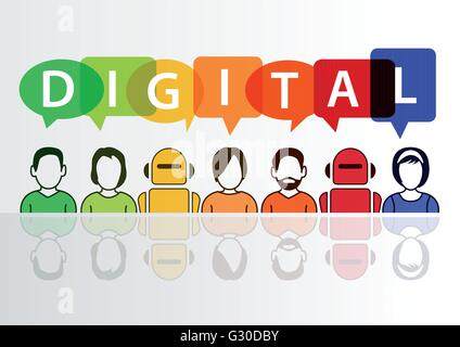Digital and digitization conceptual background. Vector illustration of colorful group of people and robots - Stock Photo