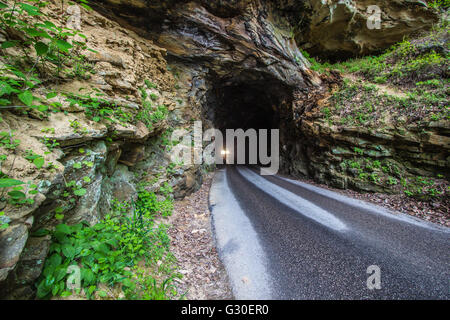 The Haunted Nada Tunnel. The 900 foot Nada Tunnel in the Red River Gorge of Kentucky. - Stock Photo