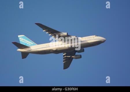 Antonov Cargo airplane in mid air - Stock Photo