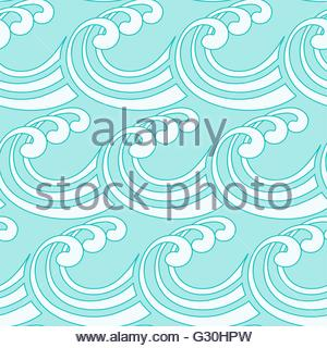 a stylized curly ocean waves seamless tile in blue shades - Stock Photo