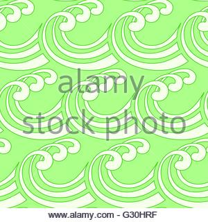 a stylized curly ocean waves seamless tile in fresh green and white shades - Stock Photo