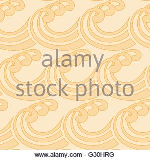 a stylized curly ocean waves seamless tile in light honey shades - Stock Photo