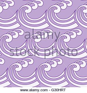 a stylized curly ocean waves seamless tile in purple shades - Stock Photo