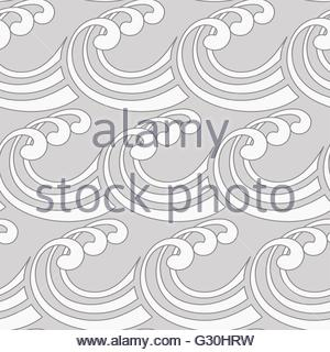 a stylized curly ocean waves seamless tile in silver shades - Stock Photo