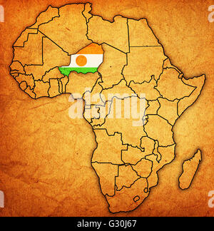 ... Niger On Actual Vintage Political Map Of Africa With Flags   Stock Photo