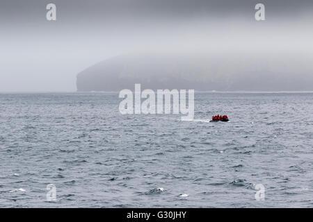 Zodiac returning to expedition ship from the Antipodes Island, New Zealand sub-Antarctic - Stock Photo