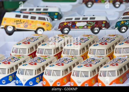 Model toy VW campervans for sale on stall at Bournemouth Wheels Festival in June - Stock Photo