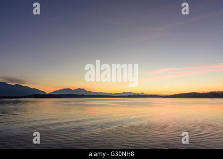 Chiemsee and the Alps at sunset, Germany, Bayern, Bavaria, Oberbayern, Chiemsee, Upper Bavaria, Chiemsee - Stock Photo